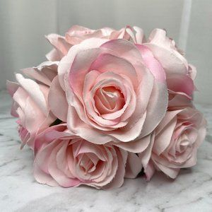 Fabric Flowers Bunch Posy Pink Faux Artificial